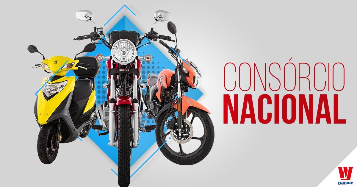 Imagem de três motos da Haojue para ilustrar que é possível fazer consórcio com todas as nossas motos.